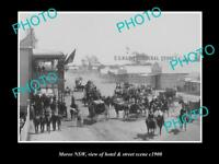 OLD LARGE HISTORIC PHOTO OF MOREE NSW, VIEW OF THE HOTEL & STREET SCENE c1900