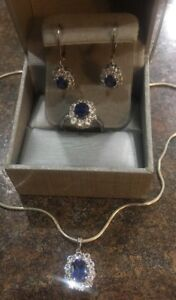 Sterling Silver Blue & White Sapphire 4pc. Jewelry Set