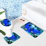 3Pcs Sea World Bathroom Lid Toilet Cover + Non-Slip Pedestal Rug + Bath Mat Set
