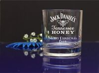 Personalised Jack Daniels Tennessee HONEY engraved Whiskey glass gift 249