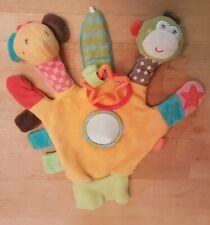 Fehn Baby Spielhandschuh Fingerpuppen-Handschuh mit Rassel, Quietsche, Greifring