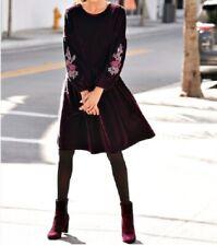 Pannesamtkleid Samtkleid Kleid Freizeitkleid Winterkleid pflaume 46