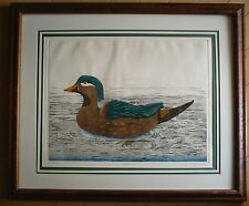 DAN MITRA, LISTED, COLORED ETCHING Signed PRINT DUCKS, WOOD DUCK She Wood Duck