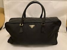 3bff548d0e5a PRADA DOCTOR NYLON LEATHER HANDLE HANDBAG ZIPPER LOGON SMALL ITALLY