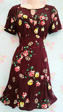 Vintage 40s 50s Style Maroon Floral Tea Dress Land Girl Home Fires UK 18