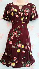 Vintage 40s 50s Style Maroon Floral Tea Dress Land Girl Home Fires UK 18