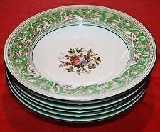 Wedgwood Florentine Green Rim Soup Bowls w Fruit & Urn Center - Set of 6