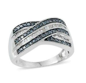 1ct Blue & White Diamond Ring in Platinum Overlay 925 Sterling Silver -UK Size L