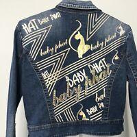 Vintage Baby Phat Large Crop Jean Jacket Logo Sequin Cat Button Long Denim