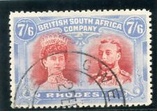 """Rhodesia 1910 """"Double Heads"""" 7s6d carmine & light blue very fine used. SG 161."""