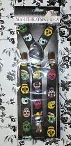 Novelty Print Adult Mens Womens Black Day of the Dead Skull Suspenders New
