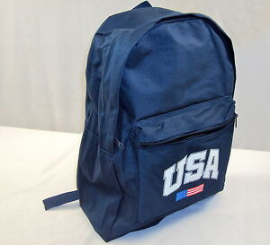 Nylon Canvas Backpack ~ Basic 2-Pocket School Book Bag w/Patriotic USA Emblem