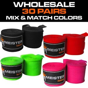 """WHOLESALE 30 PAIRS - 180"""" SEMI-ELASTIC HAND WRAPS - MEISTER MMA Boxing MIX/MATCH"""