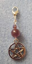 CLIP ON CHARM WITH AMETHYST AND A PENTAGRAM WICCA PAGAN SPIRITUAL HEALING