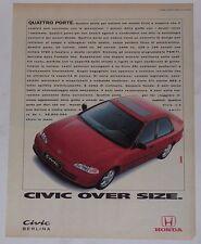 Advert Pubblicità 1993 HONDA CIVIC BERLINA