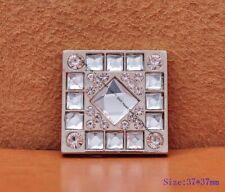 5X Rhinestone Glass Decor Leathercraft Western Leather Belt Saddle Square Concho