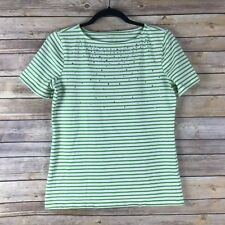 Coral Bay Womens Top Cotton Stretch Knit Tee Rhinestones Striped Semi Fitted PS