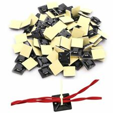100pcs Black Zip Tie Car Cable Wire Removable Self Adhesive Wall Mount Holder