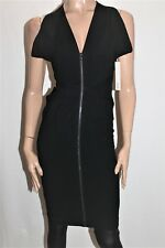WILLOW Designer Black Textured V-Neck Zip Front Tuck Dress Size 8 BNWT #SC25