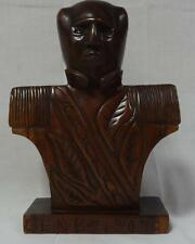 Antique Folk Art Carved Mahogany Bust of Gen. Blizard Nicely Detailed