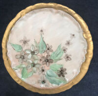 Vintage Porcelain Hot Plate / Tea Trivet Flowers Hand Painted Signed Gold Border