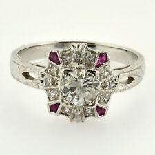 WOW 18k White gold .76ctw Round Diamond & Ruby Filigree Milgrain Engagement Ring
