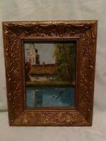 ORIGINAL  ANTIQUE  PAINTING  INTRICATE ELABORATE FRAME DWELLING BY RIVER