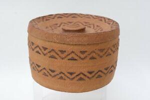 Large Antique Tlingit Rattletop Basket with lid;