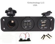 High Power Triple 4.2 Amp USB Charger + Voltmeter +12 V Socket Plug  w/Jumper
