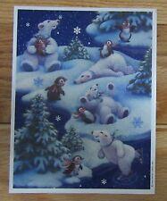 Hallmark POLAR BEAR & Penguins Christmas Sticker Sheet Vintage