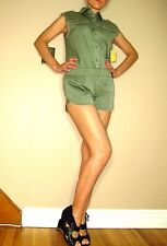 Seven 7 For All Mankind $165 Shirtall Short Overall Romper Army Green Cotton L