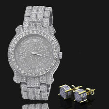 14k Gold Plated Two Tone ICED OUT Micropave Earring Stud Round W/ Fully CZ Watch