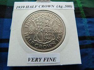 VERY FINE? 1939 HALF CROWN  (Ag .500)  George VI pre 1947