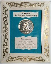AMERICAN GREETINGS MEDALETTES KEEPSAKE FIRST COMMUNION DAY MEDAL IN CARD FRAME
