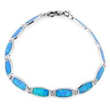 """Lucia Fine Solid Sterling Silver Blue Lab Fire Opal Bracelet 7.25"""""""