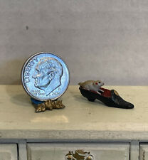 Vintage Artisan Hand Painted Metal Mouse in High Heel Dollhouse Miniature 1:12