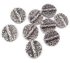 Antique Silver Plated 13mm Branch Coin Bead Findings Q30 66331