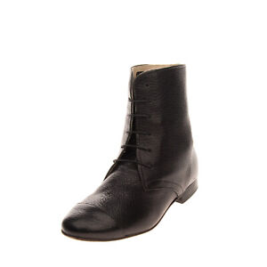 RRP €115 ANNIEL Leather Ankle Boots Size 36 UK 3 US 6 Grainy Panel Made in Italy