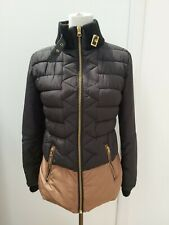 River Island Ladies Size 10 Black Tan Brown Puffa Jacket Quilted Autumn Fashion