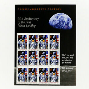 #2841 Moon Landing 25th Anniversary Mint Sheet of 12