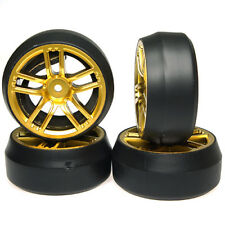 YR drift wheels & tires to fit 1:10 RC cars CX10 offset +3 Gold.
