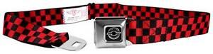 Seatbelt Men Canvas Web Military Chevy Chevrolet Checker Black Red Logo