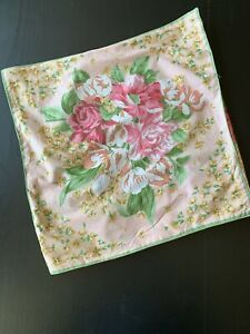 April Cornell Pillow Cover Pink Green Florals 15 x15