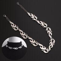 Punk Fire Flame Necklace Wave Sun Choker Hip Hop Rock Jewelry Trending Jewelry*