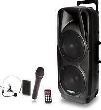 "IBIZA Sound ""PORT225VHF-BT"" Akku Sound Box Bluetooth 2x Funkmikro LED USB IR-FB"
