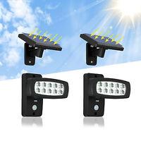 2XLED Solar Solarleuchte mit Bewegungsmelder Solarpanel Gartenlampe Außenleuchte