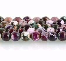 1 Strand Round Faceted PURPLE and GREEN AGATE Beads, 8mm gag0092