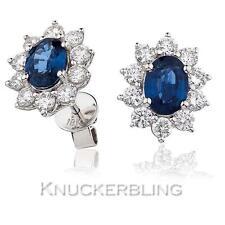 Sapphire + Diamond Earrings 3.00ct 18ct Gold Colour F Clarity VS Oval Pierced