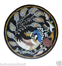"12"" Round Marble Black Coffee Side Peacock Design Table Top Inlay Mosaic Decor"