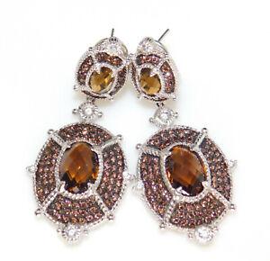 Judith Ripka 925 Sterling Silver Smoky Quartz & Diamonique Fancy Dangle Earrings